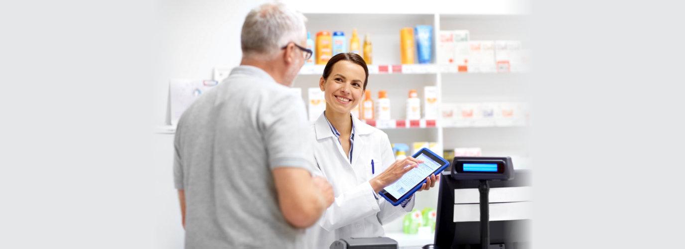 pharmacist pointing at something